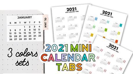 Horizontal 1/2 inch high calendar strips; Free 2021 Calendar Tabs Stickers Lovely Planner