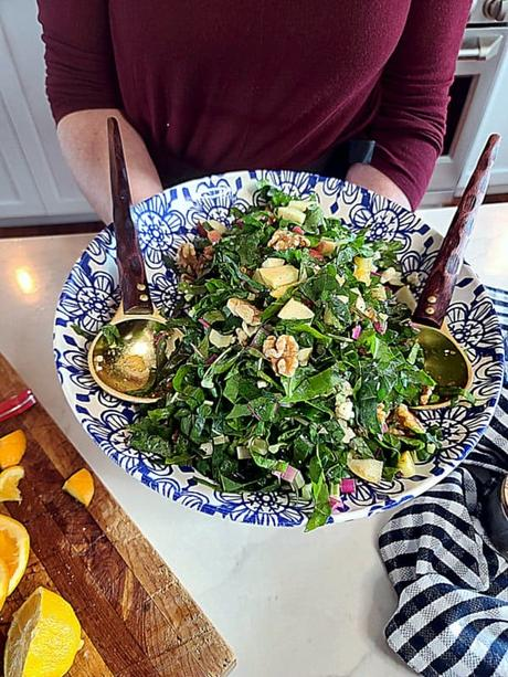 apple salad with swiss chard
