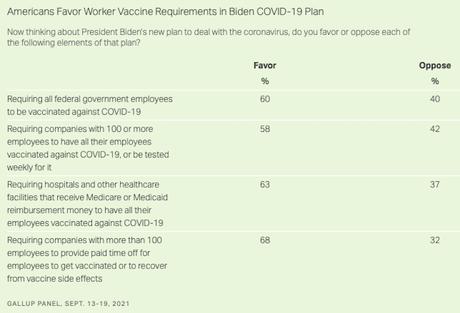 U.S. Public Supports President Biden's Vaccine Mandates