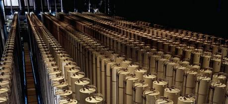 Cascade of gas centrifuges used to produce enriched uranium. This photograph is of a the U.S. gas centrifuge plant in Piketon, Ohio from 1984.