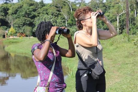 The Muzungu with young birder Hope at Kasenge, Uganda. International Day of the Safari Guide