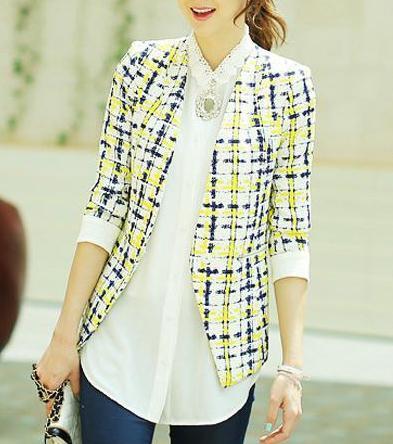 tbdressfashion:  Modern Slim Long Sleeves Plaid Print Korean...