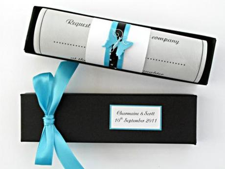 Wedding Invitation Scroll - Melissa in Black and Turquoise