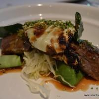 charcoal grilled lamb with broccoli, oysters and cabbage