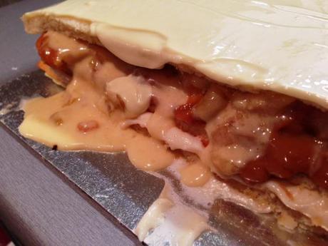 oozing layers of caramel apple opera cake french butter cream dulce de leche