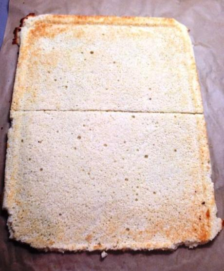 joconde sponge for opera cake sliced into two for layers