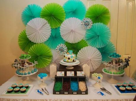 super cute polkadot blue green and chocolate baby shower by
