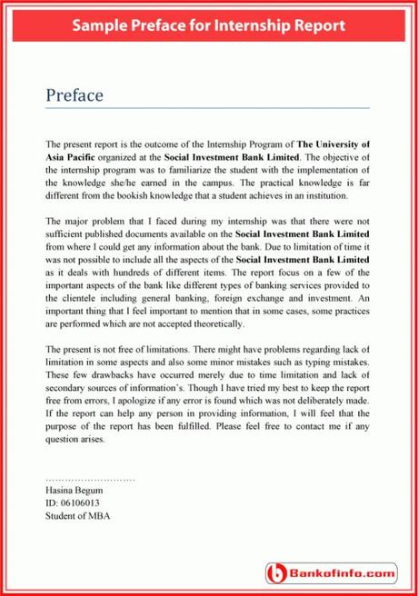 A business plan is also vital if you want t. Sample preface for internship report | Internship report