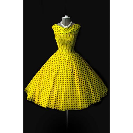 Estate tax is collected by the federal government, while inheritance tax is state imposed. Retro dress, yellow with black dots, made of chiffon
