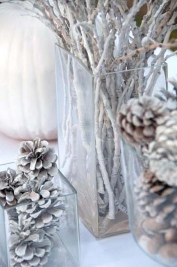 White Pinecone Winter Wedding Decor