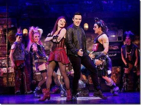 Erica Peck, Ruby Lewis, Brian Justin Crum and Jared Zirilli in We Will Rock You