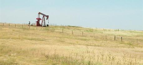 An oil drill outside of Colby, Kansas.