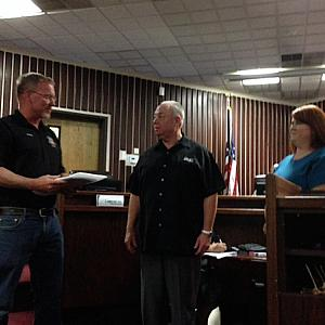 From left, City of Adelanto Director of Public Utilities John Sponsler, City Manager Jim Hart, and Mayor Cari Thomas