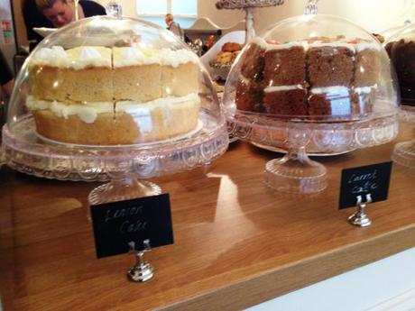 the walk cafe nottingham lemon and carrot cakes all homemade in glass cake stands