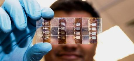 Unique material is far cheaper to produce and generates almost as much power as today's thin film solar cells.