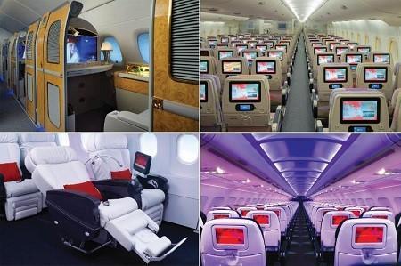 Emirates and Virgin Clockwise: Emirates First Class, Emirates Economy Cabin, Virgin America Main Cabin, Virgin America First Class.