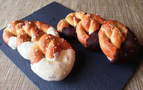 great bloggers bake off british pretzel recipe dipped in dark and white chocolate finished with rock salt flakes