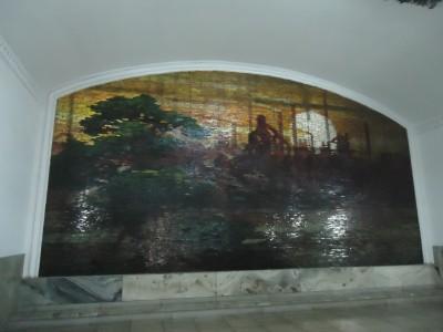 pyongyang metro mural