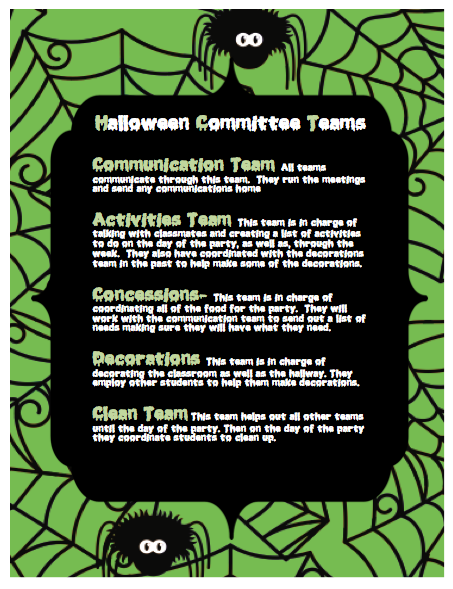 Halloween Committee Teams
