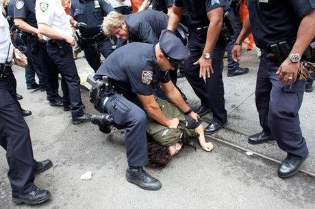 Police officers arrested protesters who had marched from Zuccotti Park to Union Square.