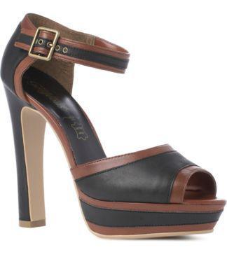 Black (Black) Leather Peep Toe Platforms   232213801   New Look