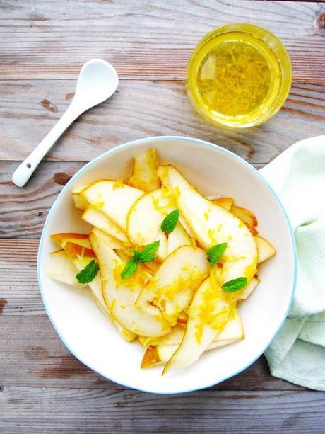 Pears with Mint Leaves and Lemon Syrup