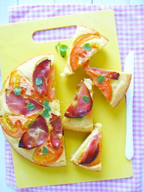Savory Polenta Cake with Ricotta-Italian Ham-Tomato and Fresh Oregano  Leaves--And Thoughts on Challenges