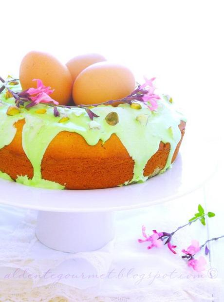 Easter Nest Sweet Cake With Sour Cream -Royal Icing and Pistachios