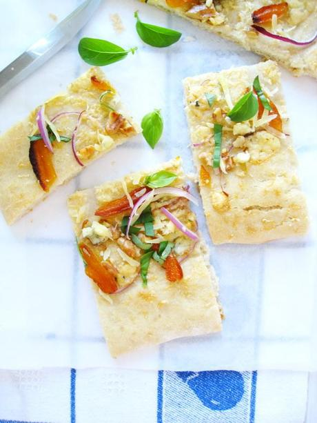 Focaccia with Red Onions-Dried Apricots-Walnuts and Blue Cheese And a Movie to...