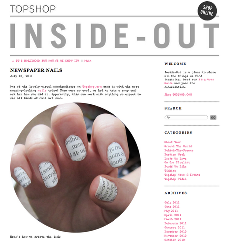 Newspaper Nails on the Topshop blog!