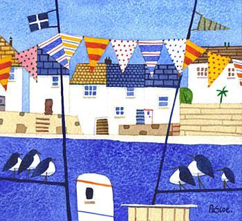 A painting of an English Seaside with Bunting