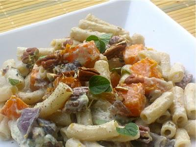 Autumnal Pasta: Creamy Penne with Roasted Butternut Squash, Pecans, and Oregano
