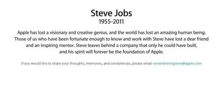 Apple Site Message - Steve Jobs