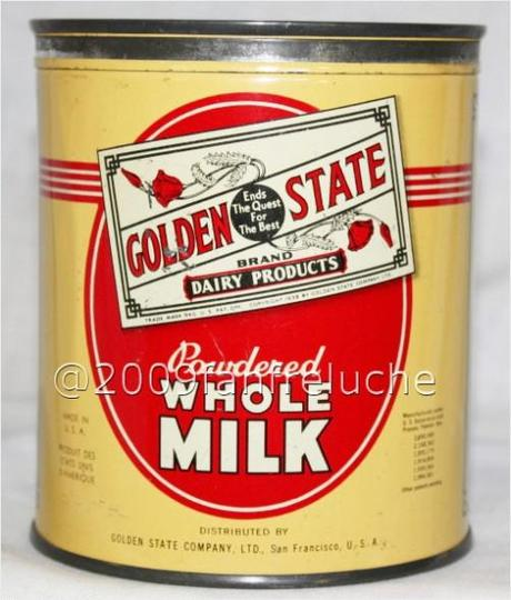 Vintage Golden State dairy products powdered milk tin can