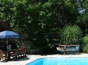 Unique Outdoor Landscape- Pool Built Stone Barn Foundation.