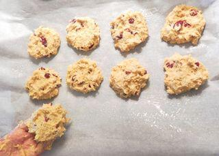 Pumpkin Cranberry Scones - Shape drop scones with clean hands