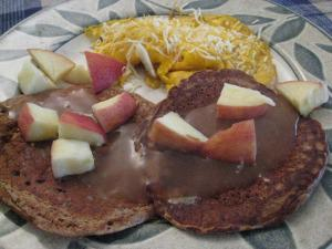 Oatmeal Pancakes with Homemade Apple Syrup