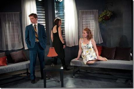 John Henry Roberts, Michaela Petro and Abigail Boucher in Strawdog Theatre's 'Old Times,' by Harold Pinter. (photo credit: Chris Ocken)