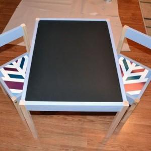 latt table with chalkboard paint