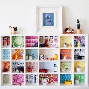 shelves with retro wallpaper