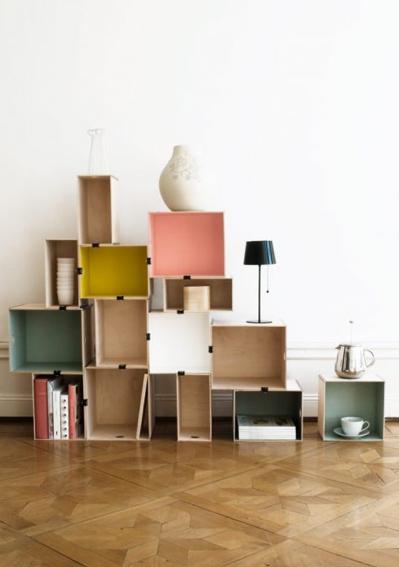 colour block shelves