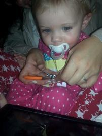 I can cut Little Miss A's nails!