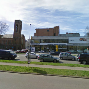 INCORRECT: The Church and (now derelict) Renault garage - NOT THE HOLIDAY INN EXPRESS ANTWERP NORTH