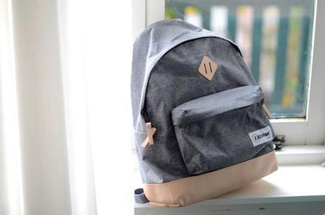 apc x eastpak backpack gray tan leather