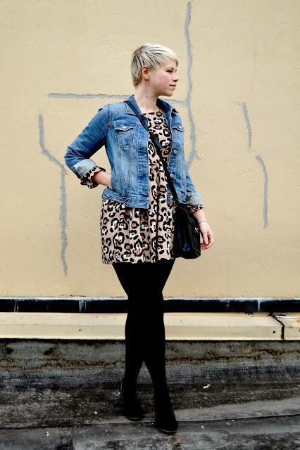 leopard print, apricot, mini dress