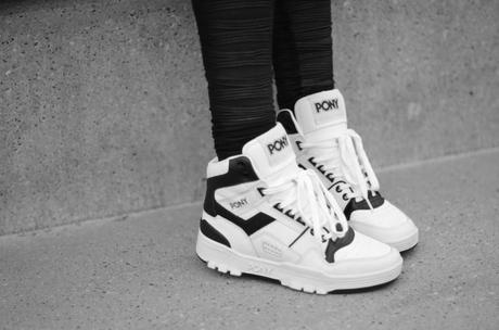 white old school pony high top trainers