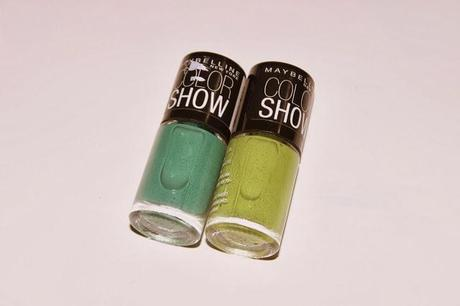 Maybelline Color Show Nail Paints 301 Tenacious Teal and 404 Mint Mojito