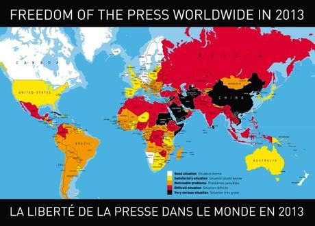 Reporters Without Borders map of World Press Freedom