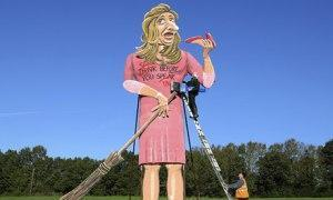 An effigy of Katie Hopkins, ex-Aprentice contestant and drivel-mouthed, bourgeois idiot, is prepared for burning in Edenbridge, November 2013. image from www.Guardian.com