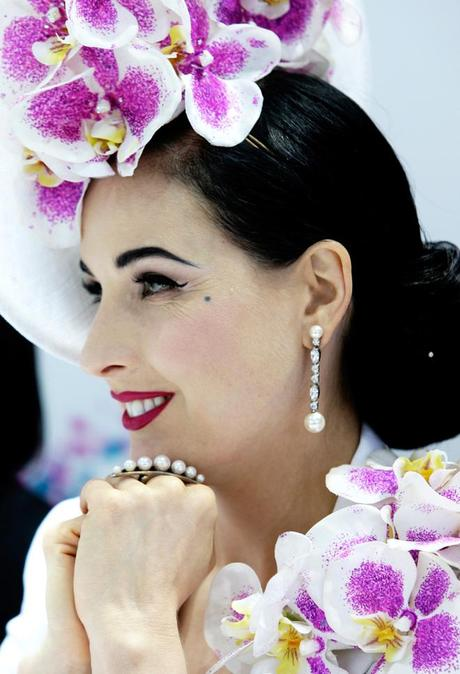 Dita von Teese looks on during judging of Myer Fashions on the Field during Melbourne Cup Day at Flemington Racecourse on November 5, 2013 in Melbourne, Australia.  (Photo by Lisa Maree Williams/Getty Images for the VRC)